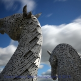 The Kelpies from behind